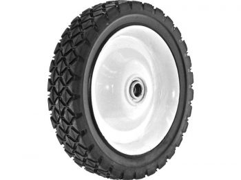 7-Inch Semi-Pneumatic Rubber Tire, Steel Hub with Ball Bearings, Diamond Tread, 1/2-Inch Bore Centered Axle