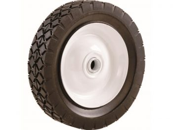 8-Inch Semi Pneumatic Rubber Tire, Steel Hub with Ball Bearings, Diamond Tread, 1/2-Inch Bore Centered Axle
