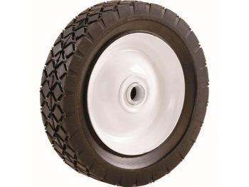 8-Inch Semi Pneumatic Rubber Tire, Steel Hub with Ball Bearings, Diamond Tread, 1/2-Inch Bore Centered Axle