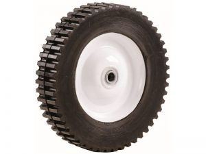 8-Inch Semi-Pneumatic Rubber Tire, Steel Hub with Ball Bearings, Gear Tread, 1/2-Inch Bore Centered Axle