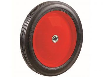 10-Inch Semi-Pneumatic Rubber Tire, Steel Hub with Ball Bearings, Ribbed Tread, 1/2-Inch Bore Centered Axle