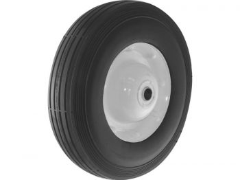 10-Inch Semi-Pneumatic Rubber Tire, Steel Hub with Ball Bearings, Ribbed Tread, 5/8-Inch Bore Centered Axle