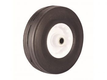 8-Inch Semi-Pneumatic Rubber Tire, Steel Hub with Ball Bearings, Ribbed Tread, 5/8-Inch Bore Centered Axle