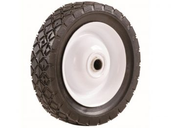 8-Inch Semi-Pneumatic Rubber Tire, Steel Hub with Ball Bearings, Diamond Tread, 1/2-Inch Bore Offset Axle