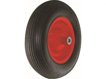 4.80/4.00-8-Inch Pneumatic Wheelbarrow Tire, 16-Inch, Ribbed Tread, 6-Inch Centered Hub, 5/8-Inch Axle Diameter, Ball Bearing