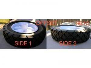 6-Inch Semi-Pneumatic Rubber Replacement Tire, Plastic Wheel, 1-1/2-Inch Diamond Tread, 1/2-Inch Bore Offset