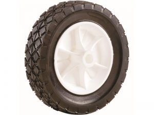 7-Inch Semi-Pneumatic Rubber Replacement Tire, Plastic Wheel, 1-1/2-Inch Diamond Tread, 1/2-Inch Bore Offset Axle