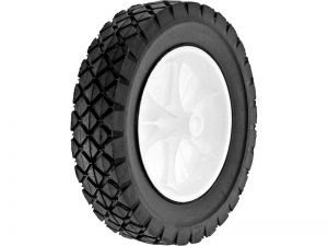 8-Inch Semi-Pneumatic Rubber Replacement Tire, Plastic Wheel, 1-3/4-Inch Diamond Tread, 1/2-Inch Bore Offset Axle