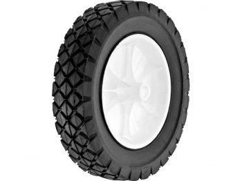 8-Inch Semi-Pneumatic Rubber Replacement Tire, Plastic Wheel, 1-3/4-Inch Diamond Tread, 1/2-Inch Bore Offset Axle