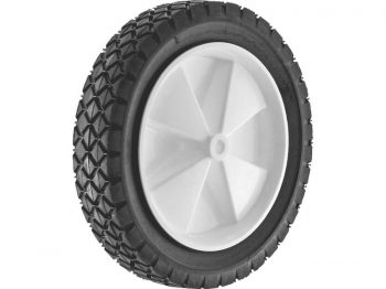 10-Inch Semi-Pneumatic Rubber Replacement Tire, Plastic Wheel, 1-3/4-Inch Diamond Tread, 1/2-Inch Bore Offset Axle