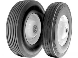 8-Inch Semi-Pneumatic Rubber Tire, Steel Hub with Ball Bearings, Ribbed Tread, 1/2-Inch Bore Centered Axle
