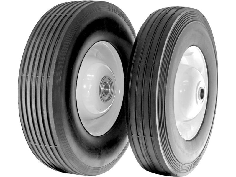 Plastic Wheel Shepherd Hardware 9613 8-Inch Semi-Pneumatic Rubber Replacement Tire 1-3//4-Inch Diamond Tread 1//2-Inch Bore Offset Axle,White-2 Pack