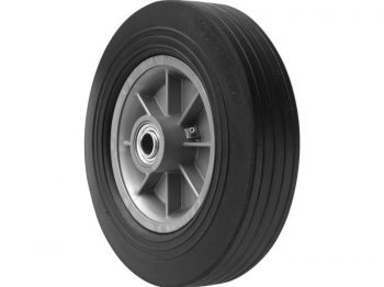 12-Inch Hand Truck Replacement Wheel, Solid Rubber, 2-5/8-Inch Ribbed Tread, 5/8-Inch Bore Centered Axle