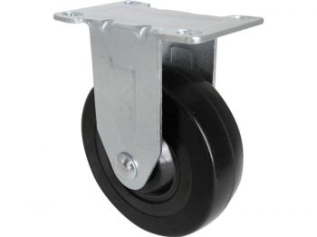 4-Inch Rigid Plate Caster, Rubber Wheel, 200-lb Load Capacity