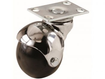 2-Inch Office Chair Plate Caster, Bright Chrome, Hooded Ball, 1-Pack