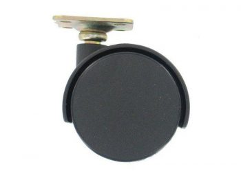 2-Inch Office Chair Plate Caster, Twin Wheel w/ Bright Brass Hood, 1-Pack