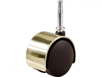 2-Inch Office Chair Stem Caster, Twin Wheel w/ Bright Brass Hood, 1-Pack