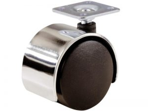 2-Inch Office Chair Plate Caster, Twin Wheel w/ Bright Chrome Hood, 1-Pack