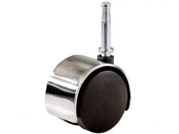 2-Inch Office Chair Stem Caster, Twin Wheel w/ Bright Chrome Hood, 1-Pack