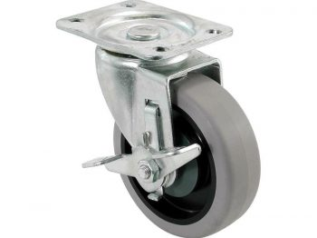 4-Inch Swivel Plate TPR Caster with Brake, 250-lb Load Capacity
