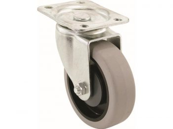 5-Inch Swivel Plate Caster, Rubber Wheel, 300-lb Load Capacity