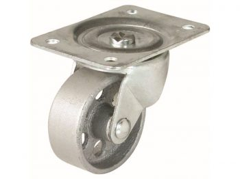 4-Inch Swivel Plate Cast Iron Caster, 500-lb Load Capacity