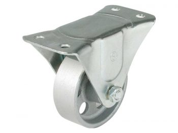 4-Inch Rigid Plate Cast Iron Caster, 500-lb Load Capacity
