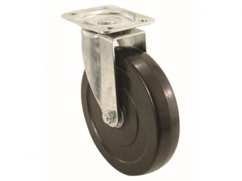 5-Inch Rubber Swivel Plate Caster, 200-lb Load Capacity