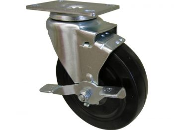 5-Inch Rubber Swivel Plate Caster with Side Brake, 200-lb Load Capacity