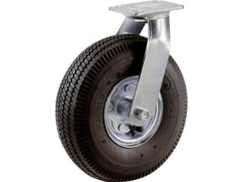 10-Inch Pneumatic Caster Wheel, Swivel Plate, Steel Hub with Ball Bearings, 5/8-Inch Bore Centered Axle