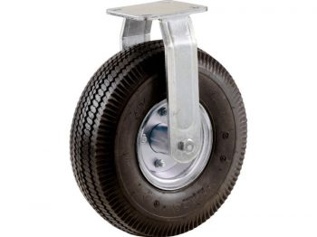 10-Inch Pneumatic Caster Wheel, Rigid Plate, Steel Hub with Ball Bearings, 5/8-Inch Bore Centered Axle