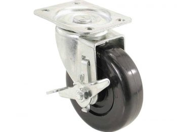 4-Inch Polypropylene Wheel Swivel Plate Caster with Brake, 275-lb Load Capacity