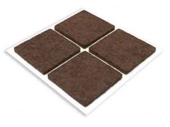 1-Inch Square Self-Adhesive Felt Furniture Pads, 4-Pack, Brown