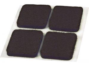 3/4-Inch Self-Adhesive Square Felt Furniture Pads, 12-Pack, Brown
